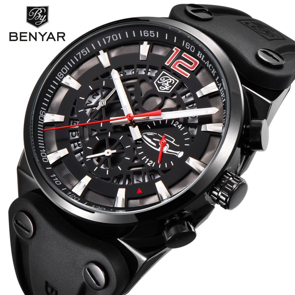 BENYAR Marke Chronograph Sport Männer Uhren Mode Militär Wasserdichte Leder Quarzuhr Relogio Masculino Zegarek Meski
