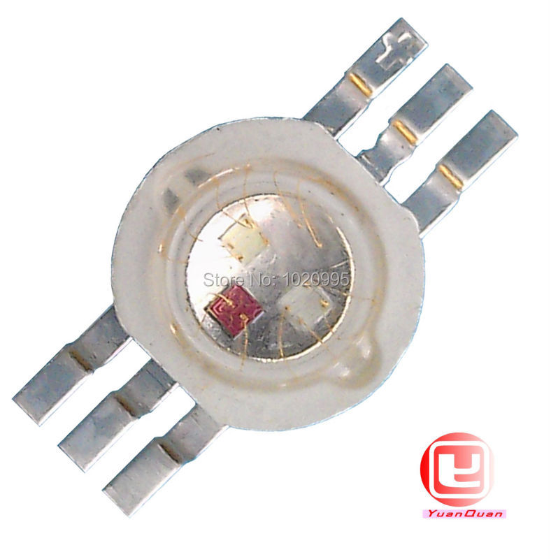 6 pin 3W RGB led bead chip red/blue/green full color six foot energy saving high power led Free shipping