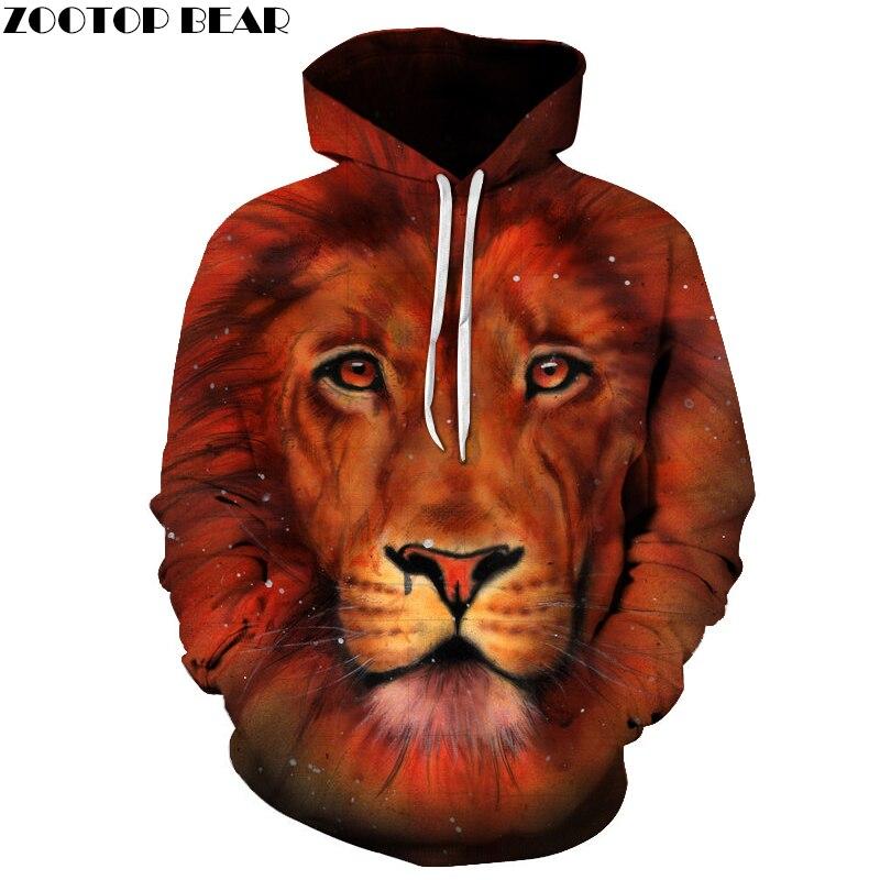 Lion Printed 3D Sweatshirts Men Women Hoodies Unisex Plus Size 6XL Pullover Autumn Winter Jacket Funny Outwear Hooded Jacket