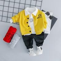 KINE PANDA Toddler Baby Boy Clothes Set Casual cardigan Coat+ Shirt+ Pants 3PCS Kids Boys Clothes 1 2 3 Years Old Korean Style