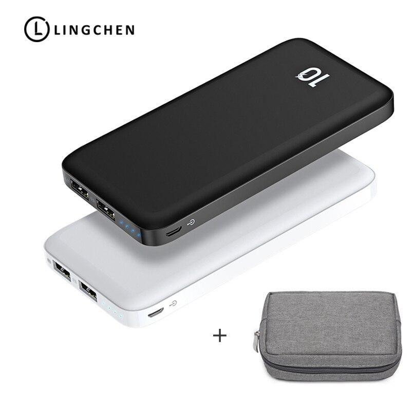 LINGCHEN banco de potencia 10000 mAh Powerbank 2.1A de batería externa portátil teléfono móvil Dual USB de polímero de litio externa bolsa