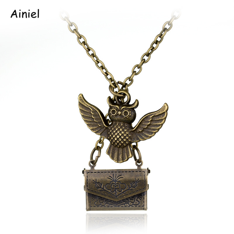 Movie Owl Admission Notice Envelope Necklace Animal Pendant Zinc Alloy Small Gift Ornaments Halloween Party Adult Man Woman Kids