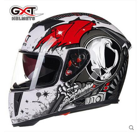 ФОТО GXT white red Skull motocross full face Helmet, motorcycle MOTO electric bicycle safety headpiece