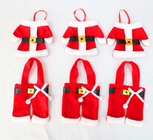 4Pcs/Set Christmas Decoration Supplies for Home Dining Table Fork Knife Candy Bag Santa Claus Clothes Design Christmas Ornaments