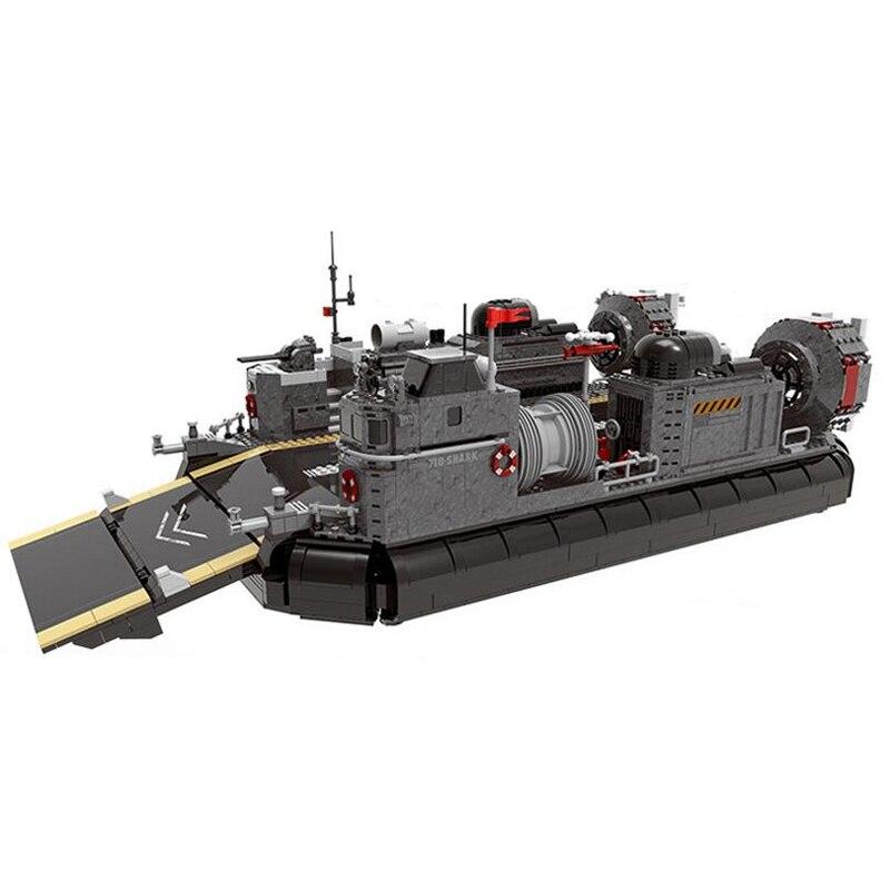 Горячая 06019 военной серии высадка десанта транспортные корабли строительные блоки транспорта на воздушной подушке играть в моб детские игр...