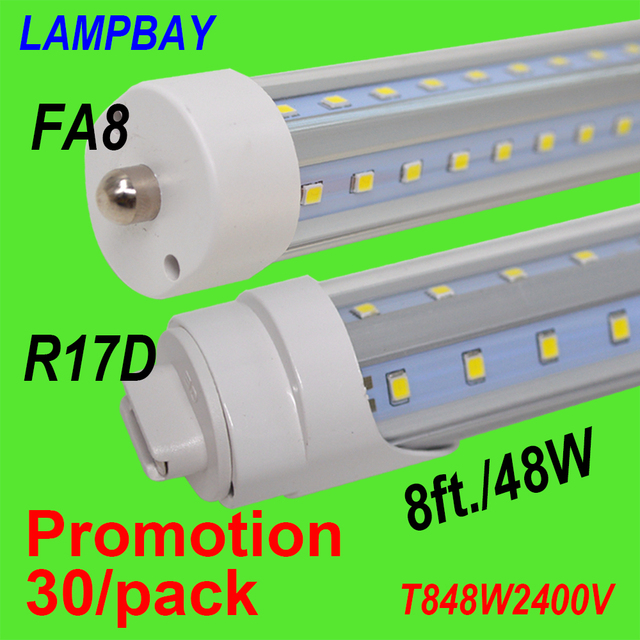 30/Pack 8FT 96\'\' 48W V Shaped LED Tube Light F96T12 Clear Cover Bulb ...