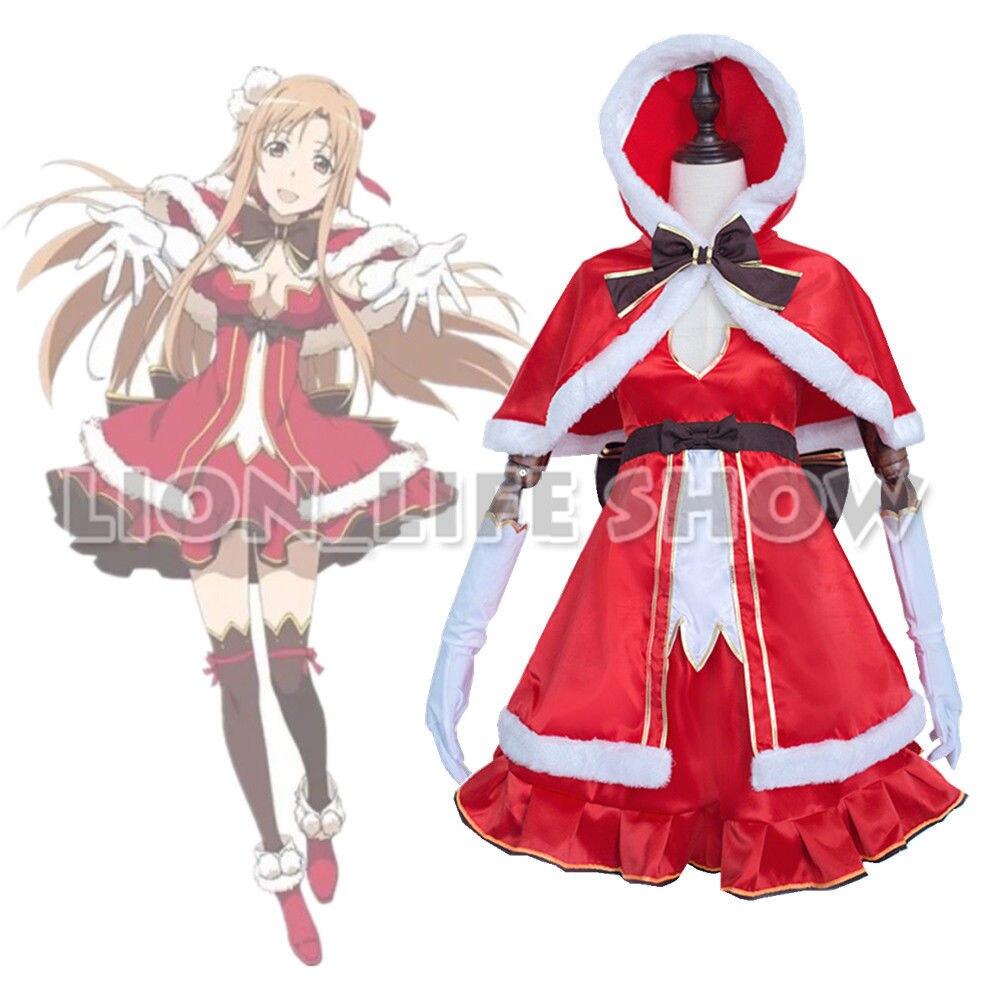 Sword Art Online Asuna Yuuki Anime Cosplay Costume Christmas Version Dress Cape rolecos brand japanese anime sword art online cosplay costume asuna yuuki full set women cosplay costumes