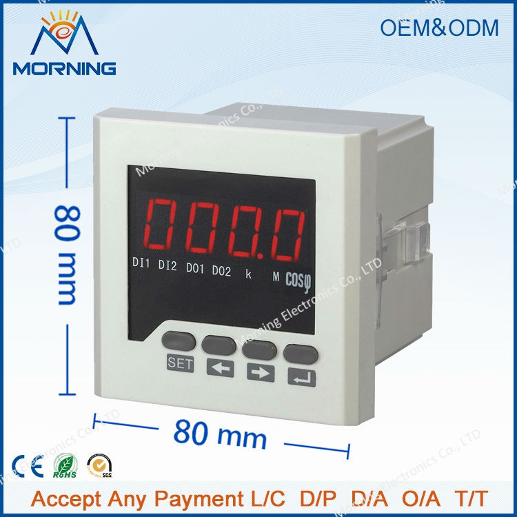 ME-3H71 80*80mm factory price LED display three-phase digital power factor meter, support switch input and alarm output  цены