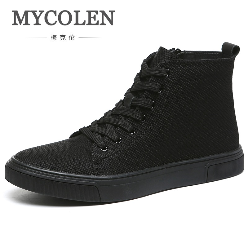 MYCOLEN Hot Sale Spring Autumn Men Canvas Shoes Breathable Fashion High-Top Shoe British Style Youth Tide Shoes Men Sneakers spring korean men flats shoes british fashion trend of small leather flat shoes tide dress shoes hot sale b1198