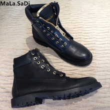 Fashion Women Metal Zipper Wool Fur Warm Ankle Martin Boots Motorcyc High Quality Full Grain Leather Round Toe Short Flats Shoes цены онлайн