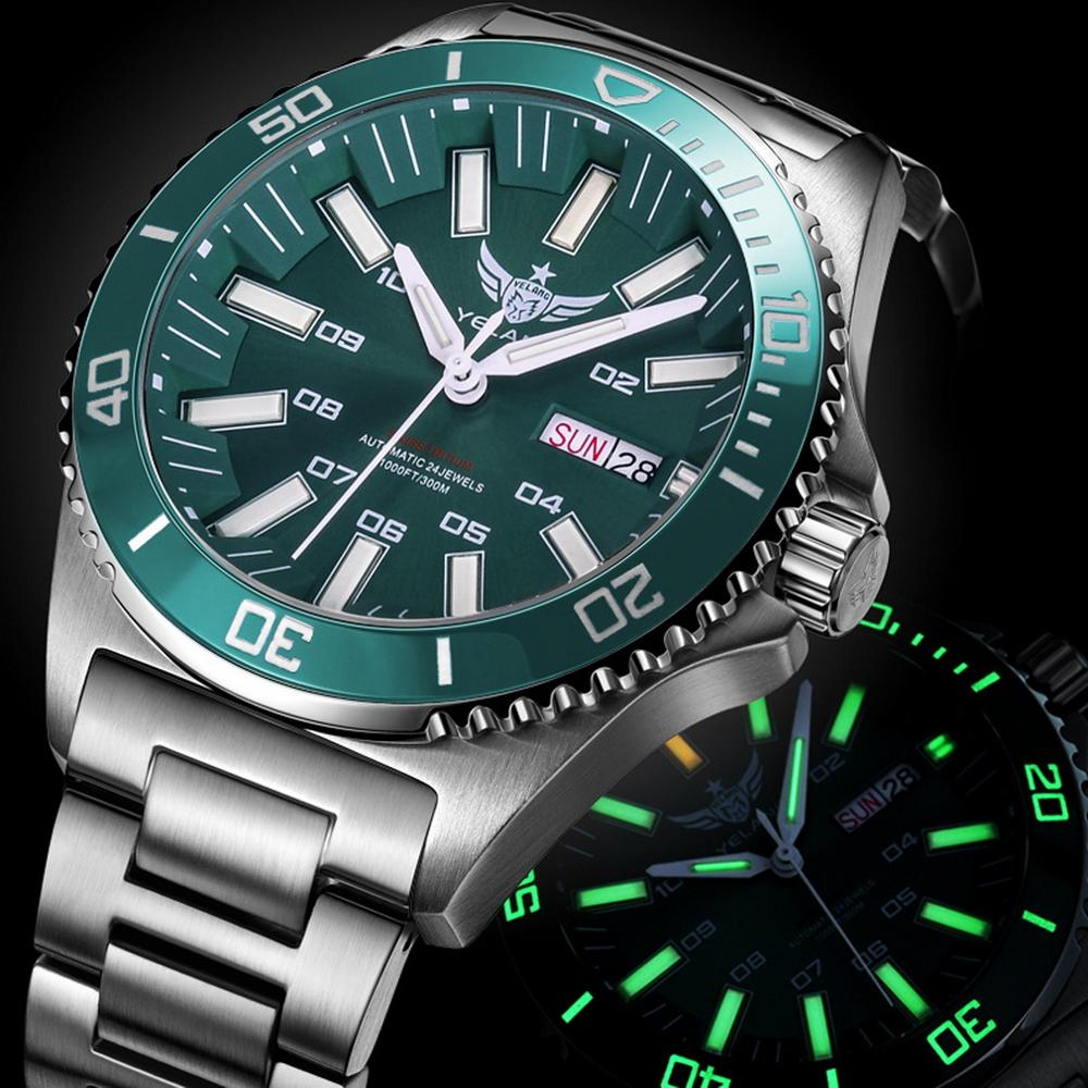 YELANG Watch Men Automatic Mechanical Sport Diver Wrist Watches T100 Tritium Luminous Relogio Montre Homme 300m