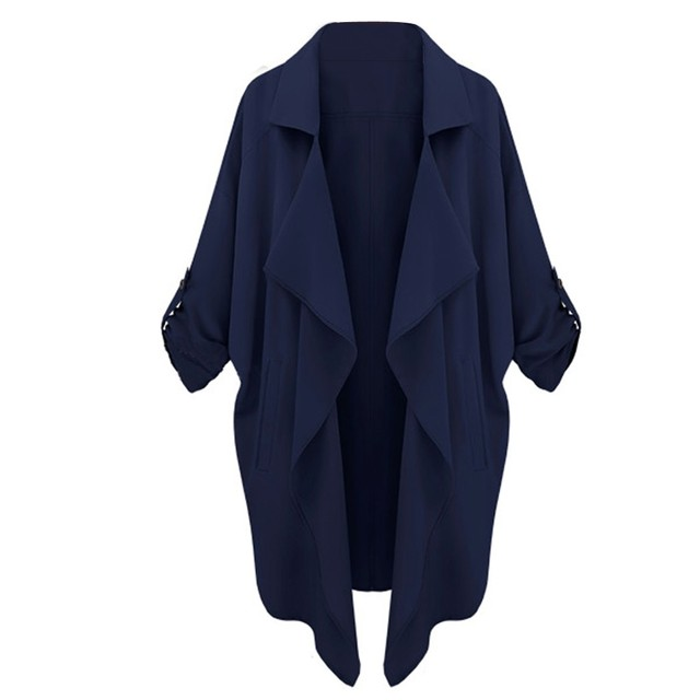 Women Irregular Hem Chiffon Trench Coat Casual Medium Long Coat Overcoat Casaco Feminino Trench Coat 2 Colors Abrigos Mujer M-XL