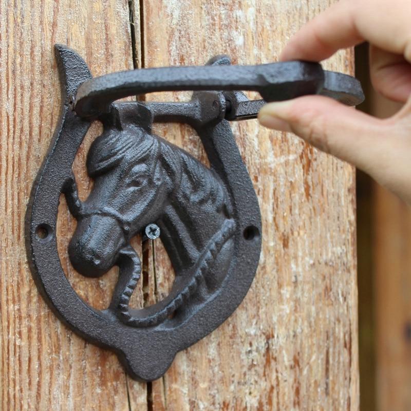 Rustic Iron Horse Head /&  Horse Shoe Door Knocker Horseshoe Lodge Western Decor