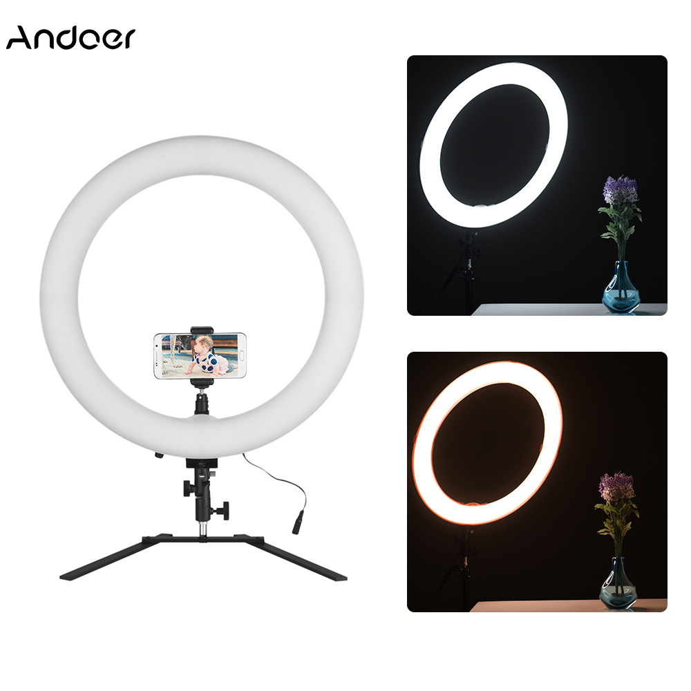 Andoer 18 LED Ring Light Ringlight 5600K 60W Photo Studio Video Light with Tabletop Stand Phone