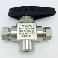 Stainless Steel 316L 1/4 Female NPT 6000 PSI CNG 3 (Three) way ball valve For CNG Dispenser