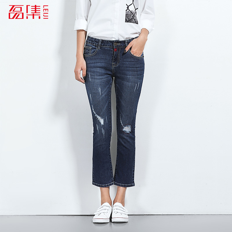2017 LEIJIJEANS NEW Arrival ripped jeans for women jeans with mid waist mid elastic flare pants skinny hole jeans 2017 leijijeans new arrival ripped jeans woman black jeans for women mid waist low elastic hole demin jeans irregular cuff
