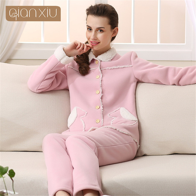056ef903f920 Qianxiu Brand Winter Thermal Thick Women Pajamas Sets Cashmere Home Clothes  Lounge Tops   Bottoms Women s lambs Warm Pyjamas