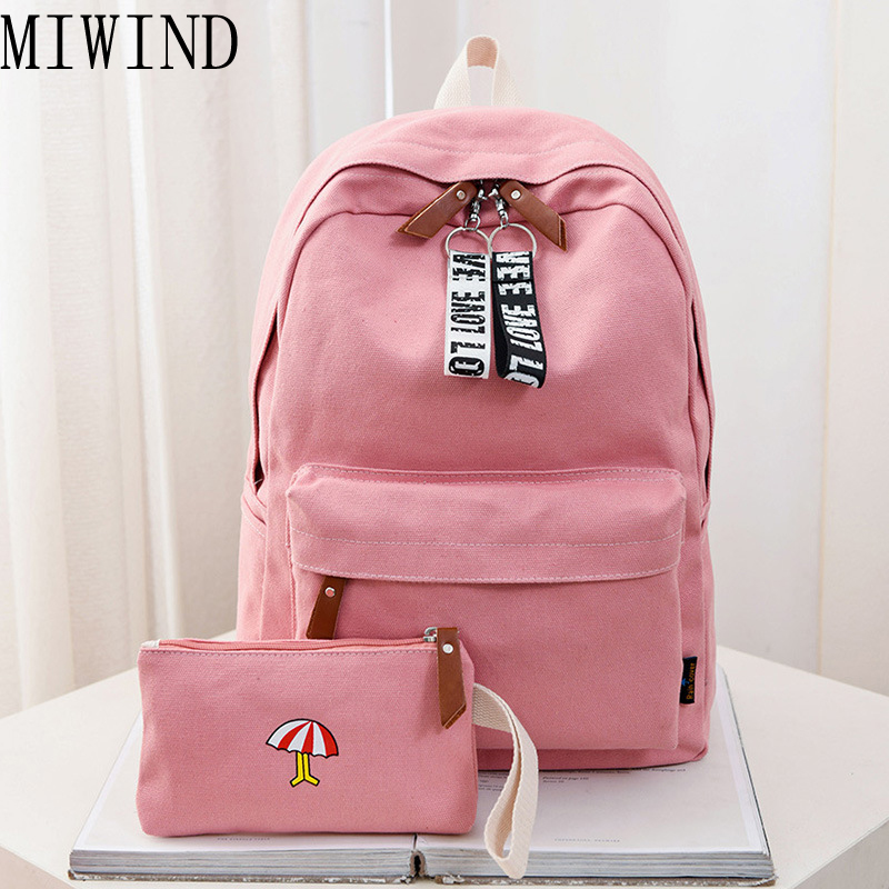 MIWIND New 2017 Casual Canvas Backpack Women Fashion School Bags For Girls Fresh Backpack Shoulder Bags Mochila 2 Pcs/se THL064