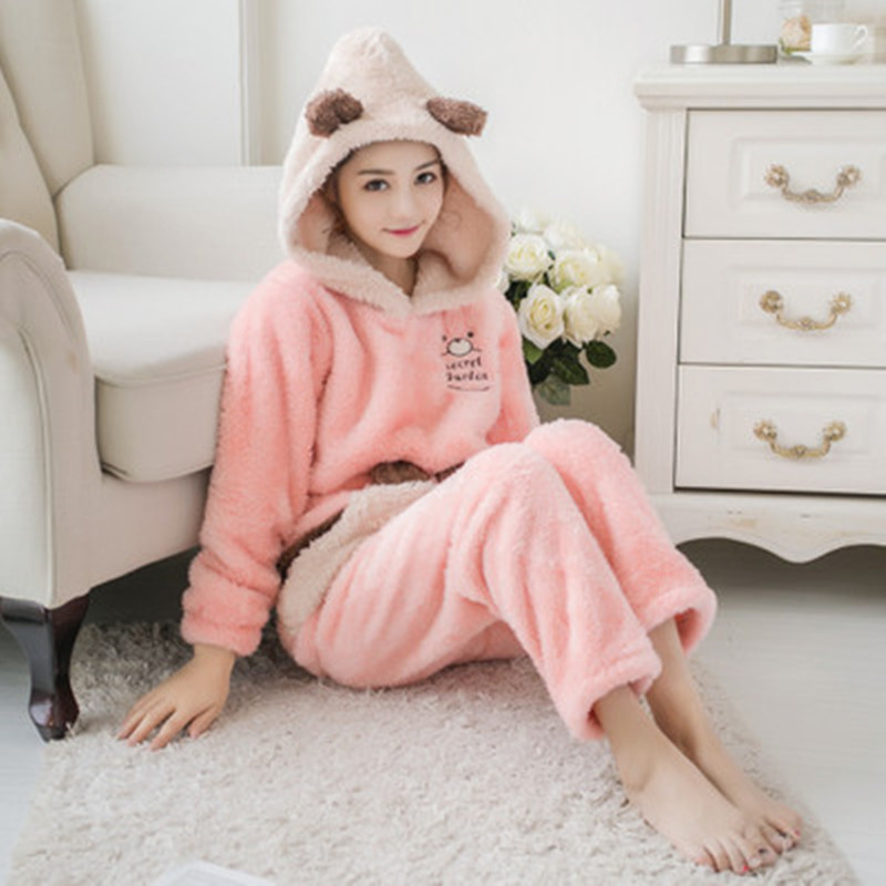 Hoodie   Pajamas     Set   Women Sexy Warm Flannel Thick Cartoon Pyjama Long Sleeve Shirt Pants Winter Home Plush Sleepwear Loose Size