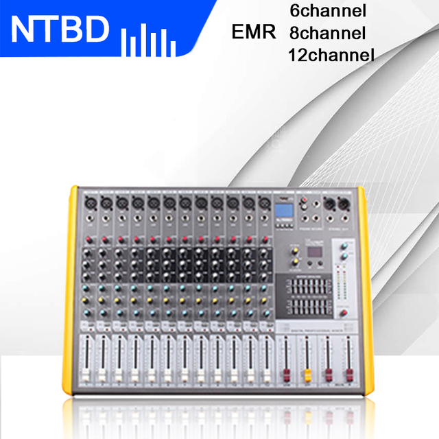 NTBD Stage Performance Hip Hop Professional Audio Mixer 6/8/12 Road with Effect Balance Professional Mixer Wireless Microphone