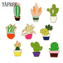 TAFREE Giapponese Stile Cactus Risvolto Spilli Dello Smalto Colorato Foresta Flora Spille Bonsai Spilli UP Dei Monili Della Lega di Modo Distintivo(China)