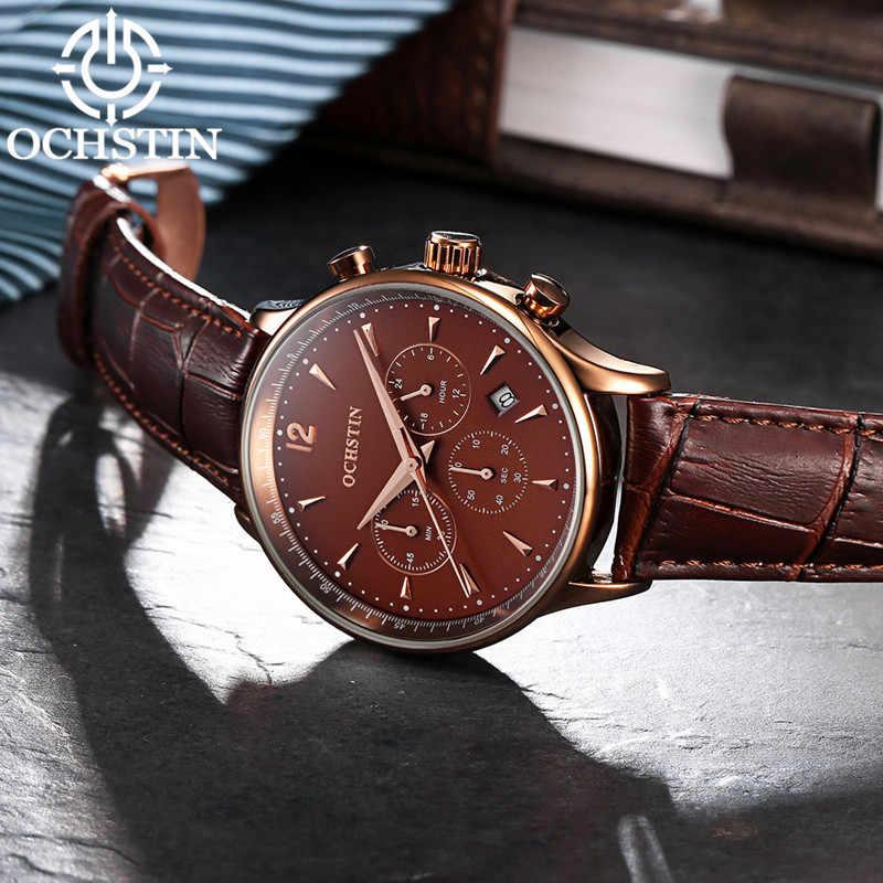 Relojes de marca de lujo de 2019 OCHSTIN para hombre, reloj de pulsera de cuarzo impermeable de cuero para hombre, reloj de pulsera para hombre