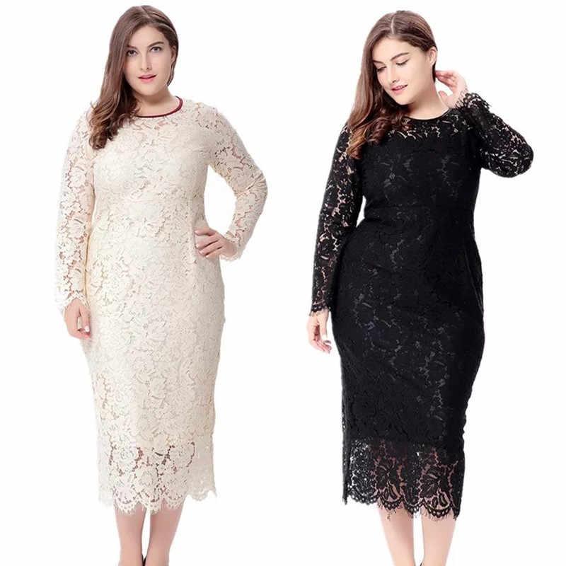 a88308128bc Женские элегантные черные Большие размеры кружевное платье лето vestidos  6XL длинные большие размеры платье пикантные Вечеринка