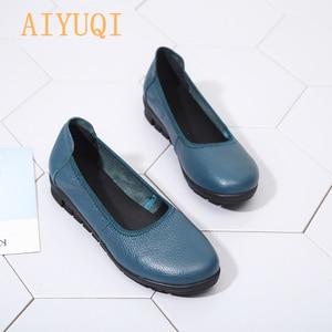Image 3 - AIYUQI 2020 printemps naturel en cuir véritable femmes chaussures plates noir bouche peu profonde mocassins fond souple dames chaussures décontractées