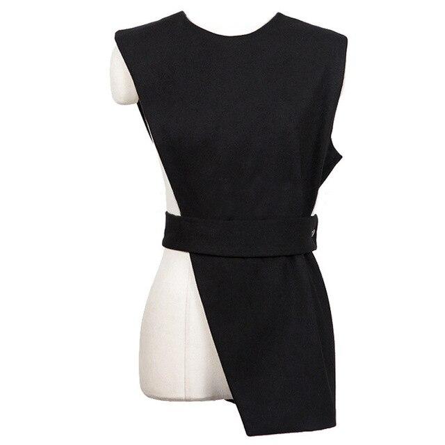 [Soonyour] 2017 новая коллекция весна лето шею сплошной цвет черный асимметрия рукавов жилет женщин мода прилива все матча HAA3831