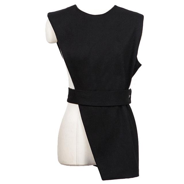 [Soonyour] 2017 nova primavera verão em torno do pescoço de cor sólida preto assimetria colete sem mangas mulheres maré de moda de todos os jogo haa3831