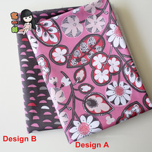 half meter US VB pure cotton fabric, light pink bottom with retro floral print, handmade garment DIY tissue CR-967