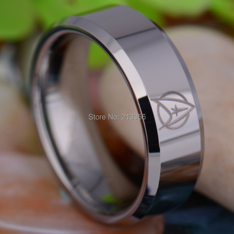 usa hot sales ec tungsten luxury jewelry 8mm star trek shiny silver beveled - Star Trek Wedding Ring