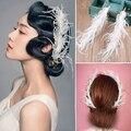Elegante Nupcial Celada feather crystal tiara de la boda la novia Horquilla palillos del pelo blanco accesorios para el cabello