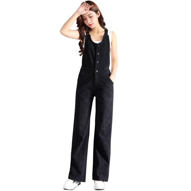 Women Denim Jumpsuit Black Blue Ladies Loose Wide Leg Jeans Rompers Female Casual Denim Overall Full Length Boot Cut