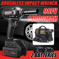 98VF Cordless Electric Screwdriver Impact Drill Socket 1/2'' Rechargeable Li on Battery for Car Tire Repair Wrench Power Tools