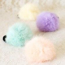 1pcs 2018 girl Hair Accessory Artificial rabbit ball hair bands of fur gum Big rubber