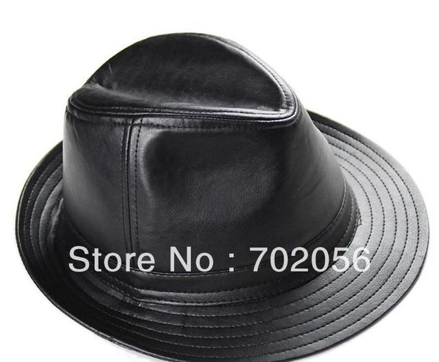 Umen real sheepskin Leather fedoras jazz hat Top Hats BUCKET HAT GENTLEMAN  HAT CAP 6pcs lot  3097 081b4b78b44c