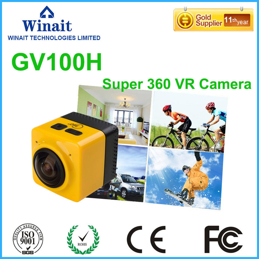 Free Shipping  GV100H 360 Action Sports Camera Mini Camera 32GB TF Card Support Multi Color 1300Mah Battery free shipping 4k hd wifi sports action camera 2 0 lcd 16mp extra 2 batteries 32gb tf card