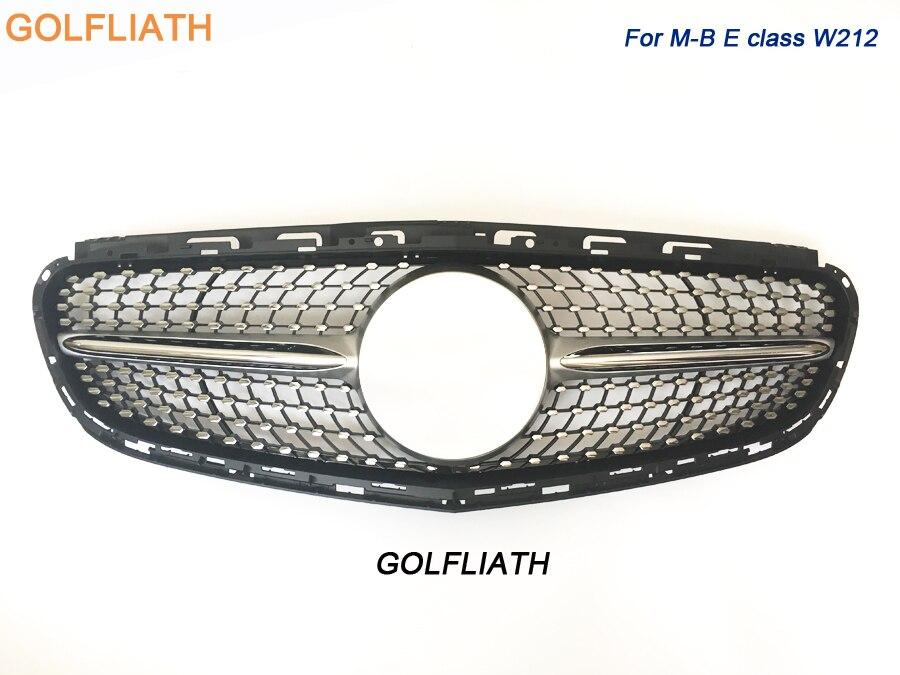 GOLFLIATH diamant radiateur argent noir pare-chocs avant grille grille pour Mercedes classe E w212 2014 2015 modèle berline sport