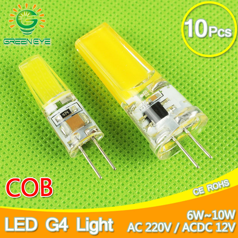 10 قطعة عكس الضوء COB G4 لمبة LED 6 واط 10 واط التيار المتناوب 220 فولت ACDC 12 فولت LED مصباح ضوء LED كريستال lambadine امبولة LED لمبة G4 Zarovka