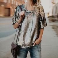 Kobiety Cekiny T-Shirt 2018 Gorąca Sprzedaż Lato Krótkie Rękawy Topy Kobiet Luźne Tees T Shirt Dance Party Klub WS5133O Streetwear