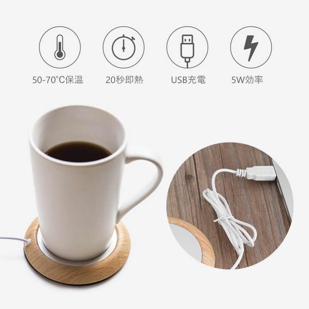 Usb grão de madeira copo aquecedor calor bebida caneca esteira manter bebida quente aquecedor canecas coaster