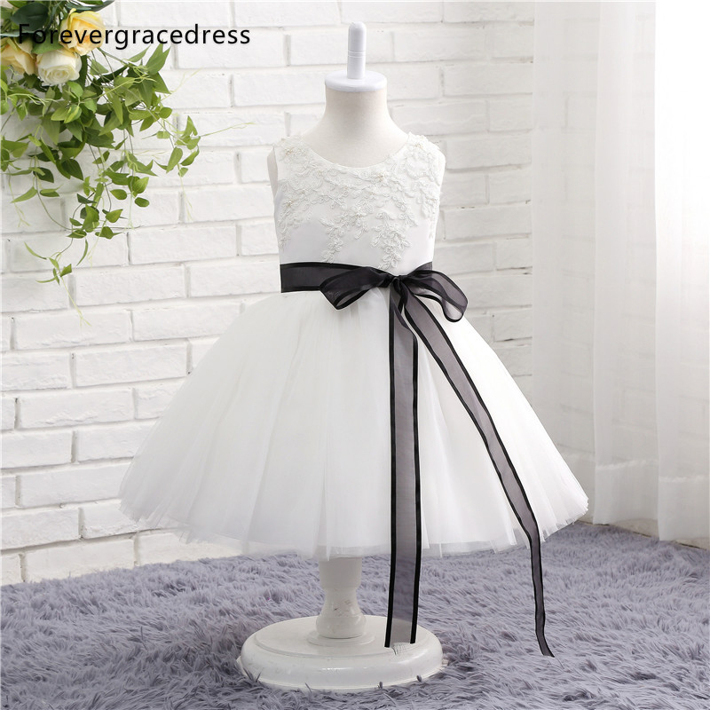 Forevergracedress Real Photos Pretty White   Flower     Girl     Dress   Cute Crew Neck With Sashes Lace Kids Pageant Children Gown