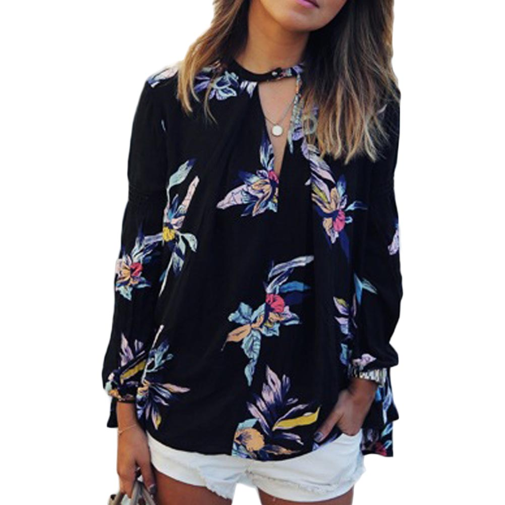 Hot Sale Women Summer Clothes Half Open Collar Flower Printing Thin Long Sleeve Shirt ...
