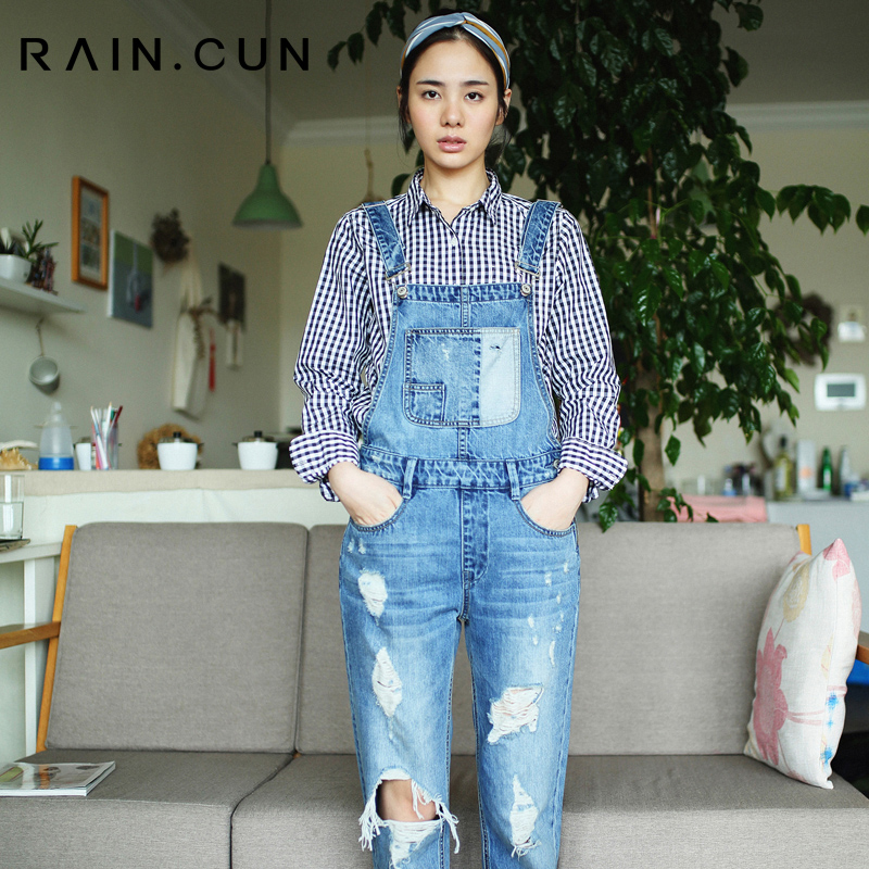 2016 Auntum New Arrival Womens Jumpsuit Denim Overalls Disessed Casual Pants Ripped Hole Loose Boyfriend Jeans for Women N220901