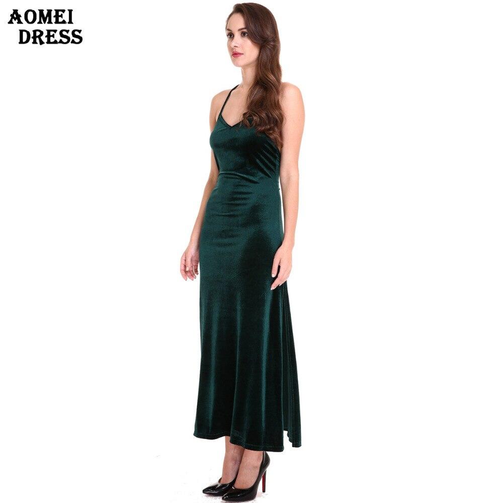pretty nice 01eed 28254 Backless Vestito Verde Signore Sling A V Sexy Velluto Scollo ...