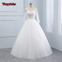 Yinyyinhs Vestido de Noiva 2018 Long Sleeve Wedding Dresses Sheer Tulle Back Sexy Bride Dresses Wedding Gowns Princess GHS06