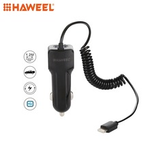 HAWEEL Car Charger 5V 3.1A 8 Pin USB Car Charger with Spring Cable Length 30cm-120cm hoco dual usb ports car charger set with 8 pin cable