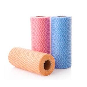 Image 3 - 1 rulo Olmayan Dokuma mutfak havluları Mikro Kumaş Tek Kullanımlık Çizgili Pratik Paçavra Silme Ovma Pedleri Yıkama Temizlik Bezi Havlu
