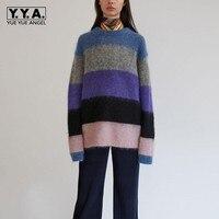 トップブランドレディース冬モヘアプルオーバーファッションのセーターoネックオーバーサイズニット女性トップス快適暖かいセーター